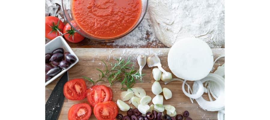 ingredientes para pizza vegana